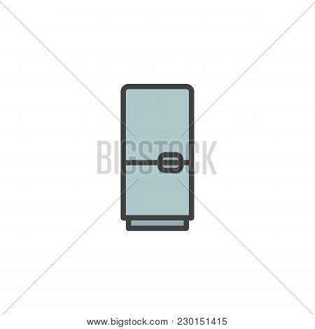 Fridge Filled Outline Icon, Line Vector Sign, Linear Colorful Pictogram Isolated On White. Refrigera