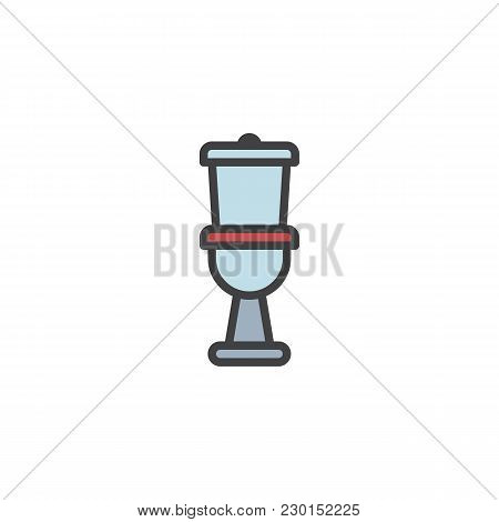 Toilet Filled Outline Icon, Line Vector Sign, Linear Colorful Pictogram Isolated On White. Water Clo