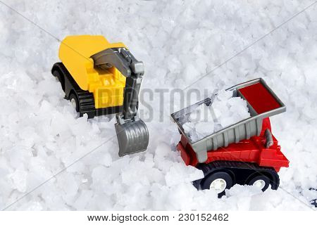 Concept Of Sea Salt Transportation Industry. The Truck Raw Salt Or Pile Of Salt From Natural In Farm