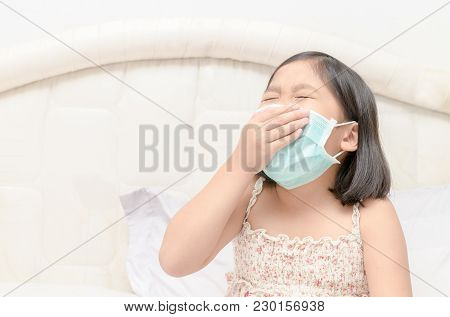 Girl Wear Protection Mask And Sneeze