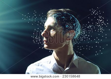 The Man's Head Businessman With Digital Brain And Connections Of Neurons. The Concept Of Artificial