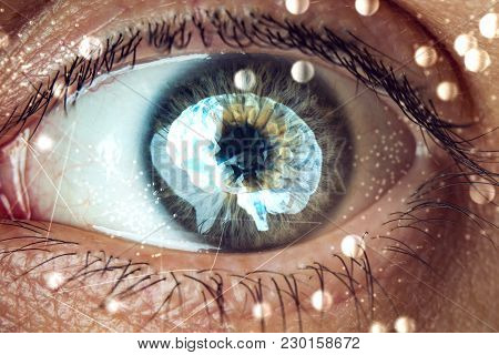 The Human Eye With The Image Of The Brain In The Pupil. Concept Of Artificial Intelligence