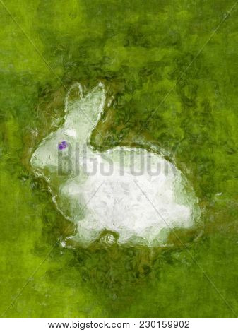 Illustration of a white easter rabbit in the green grass