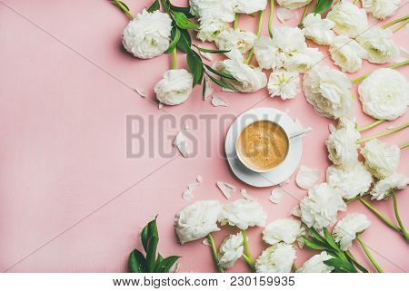 Spring Morning Concept. Flat-lay Of Cup Of Coffee Surrounded With White Ranunculus Flowers Over Ligh
