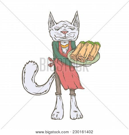 Vector Isolated Image Of The Character Of The Animal Cook. National Cuisine. Gastronomy. Turkish, An