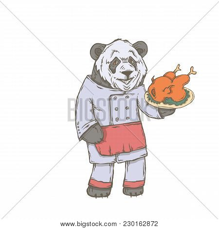 Vector Isolated Image Of The Character Of The Animal Cook. National Cuisine. Gastronomy. Panda, Chin