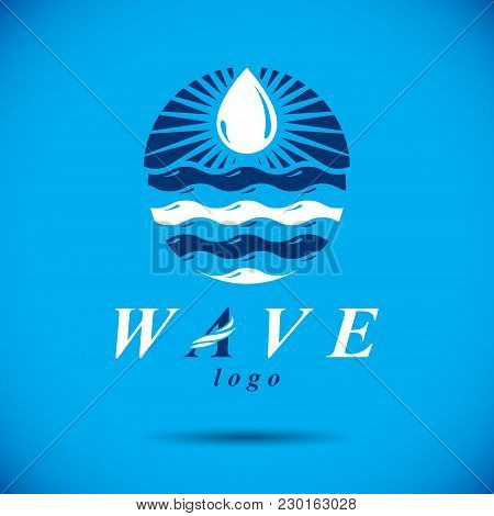 Pure Aqua Ecology Vector Logo. Human Water Reserves Theme. Environment Protection Concept.