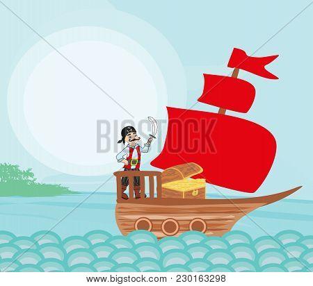 Cartoon Pirate Ship Sailing Sea , Vector Illustration