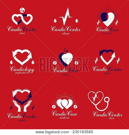 Red Hearts Created With Ecg Chart And Circulation Arrows. Set Of Cardio Rehabilitation Center Vector