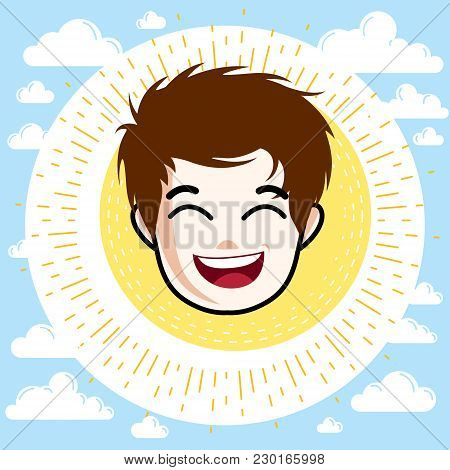 Boy Face, Human Head. Vector Character, Happy Red-haired Teenager With Stylish Haircut.