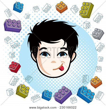Boy Face, Vector Human Head Illustration. Brunet Kid Making Funny Grimace.