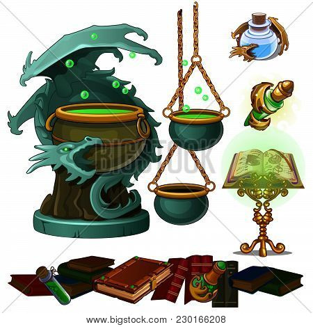 Attributes Of Witches Isolated On White Background. Vector Cartoon Close-up Illustration.
