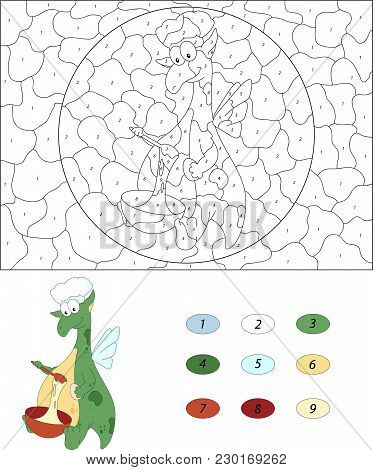 The Green Dragon Kneads The Dough In A Red Bowl. Color By Number Educational Game For Kids