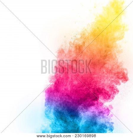 Multicolored Powder Explosion Isolated On White Background.