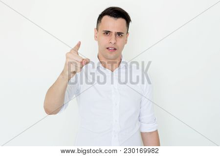 Closeup Portrait Of Disappointed Handsome Young Man Looking And Pointing At Camera. Accusation Conce