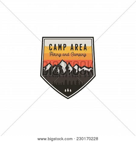 Camping Area And Hiking Vintage Badge. Mountain Explorer Label. Outdoor Adventure Logo Design With L