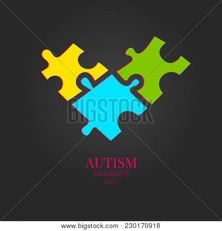 Autism Awareness Poster With Puzzle Pieces In Heart Shape On Black Background. Social Interaction An