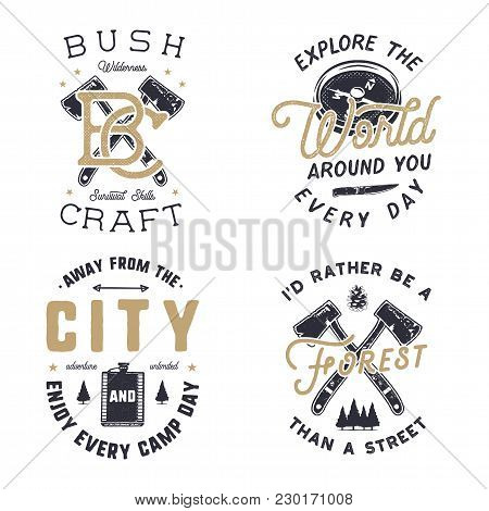 Vintage Hand Drawn Travel Logos And Emblems Set. Hiking Labels. Outdoor Adventure Inspirational Logo