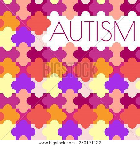 Autism Awareness Poster With Jigsaw Puzzle On White Background. Cooperation, Collaboration, Working