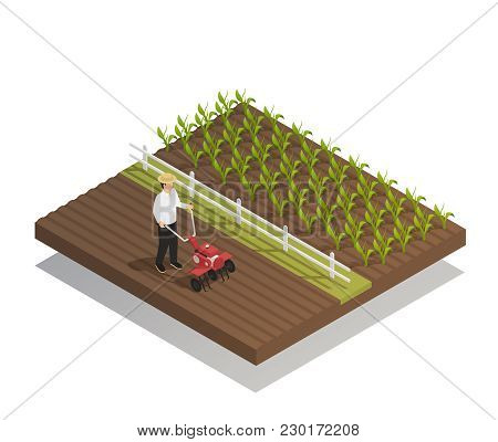 Farming Machinery Agricultural Equipment Isometric Composition With Hand Push Rotary Garden Cultivat