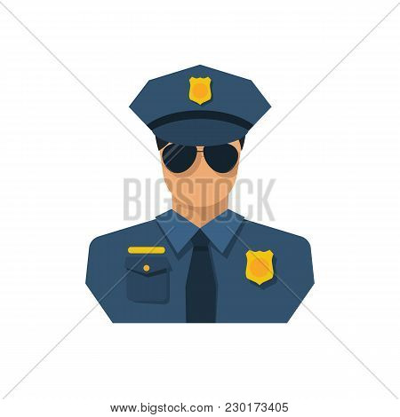 Cop Icon Flat Style Design. Police Officer Avatar. Vector Illustration. Isolated On White Background