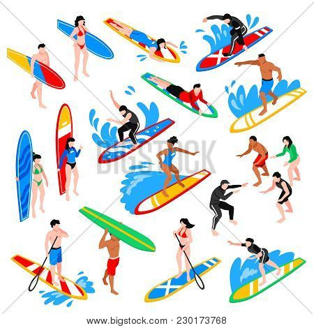 Surfing Isometric Icons Set With Coach Training Young People To Riding On Surfboard Isolated Vector