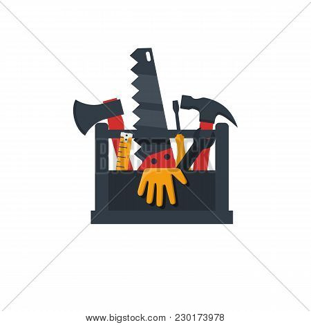 Toolbox Flat Design Icon. Vector Illustration Cartoon Style. Set Tools Handyman In Box. Template Ban