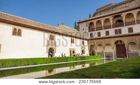 Granada, Spain - June 24, 2016: General View Of The Generalife Courtyard With Its Famous Fountain An
