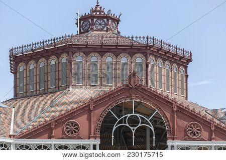 Barcelona,spain-may 20,2016: Public Market, Building,mercat Sant Antoni,sant Antoni Quarter,eixample