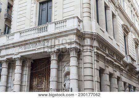 Barcelona,spain-september 3,2015:neo-classic Building Designed By Tiberi Sabater,gothic Quarter,barc