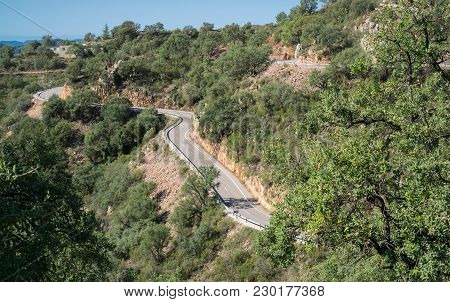 Long View Of Mountain With Curved Road