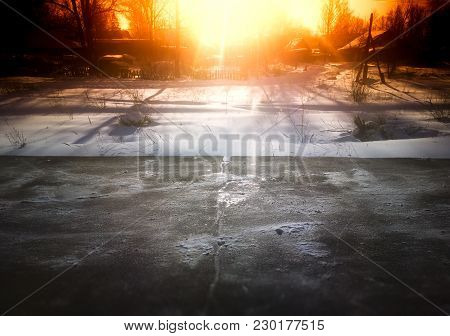 Sun Glow Over Empty Winter Railway Station Background Hd
