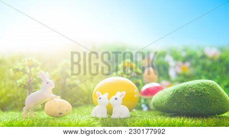 Cute Little Easter Bunnys In The Meadow. Spring Flowers And Green Grass. Sunbeams.