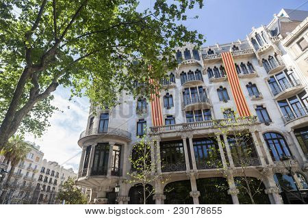 Barcelona,spain-april 21,2016: Architecture,facade Building,house,casa Fuster,modernist Style By Llu