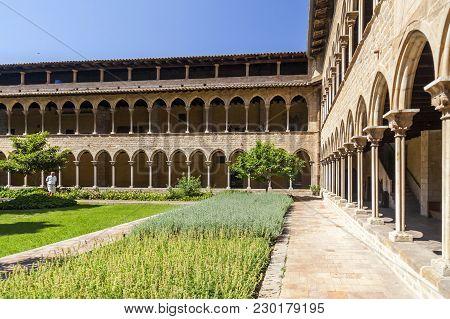 Barcelona,spain- June 4,2015: Cloister Of Monastery Santa Maria De Pedralbes, Monestir, Gothic Style