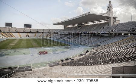 Barcelona,spain-june 15,2015: Interior Of Olympic Stadium Lluis Companys In Parck Montjuic, Barcelon