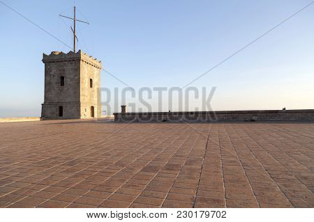 Barcelona,spain-december 9,2015: Castle Of Montjuic, On Top Of Park Montjuic, Barcelona.