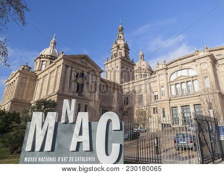 Barcelona,spain-march 4,2015: National Palace, Palau Nacional, Hosts Mnac-museum National Art Of Cat