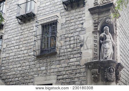 Ancient Facade With Sculpture, Religious Image, Saint Paul, By Domenec Rovira El Jove In 1668, El Ra
