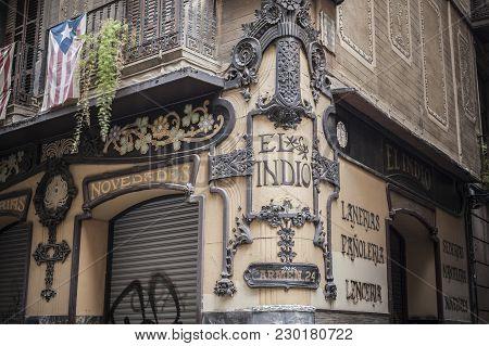 Barcelona,spain-february 4,2015: Artistic Facade, Modernist Style, Store El Indio, El Raval Quarter,