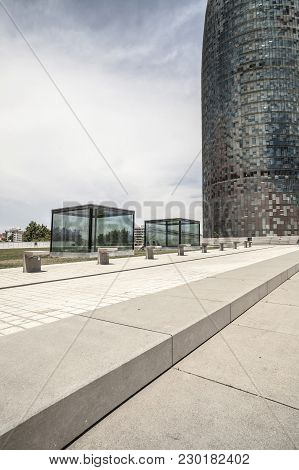 Barcelona,spain-june 8,2015: Contemporary Architecture, Tower,torre Agbar Designed By Jean Nouvel,ba