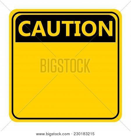 Symbol Yellow Caution Sign Icon On White Background