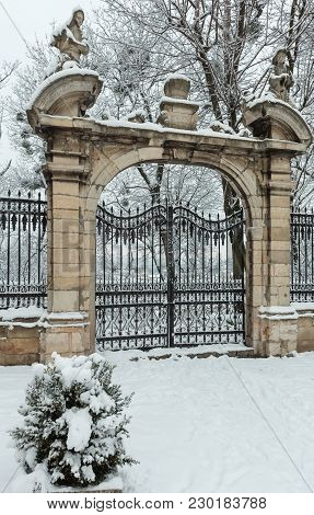 Winter St. George Cathedral Courtyard View With Gate, Lviv, Ukraine.