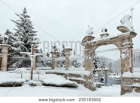 Winter St. George Cathedral Courtyard View With Gate And Cross, Lviv, Ukraine.