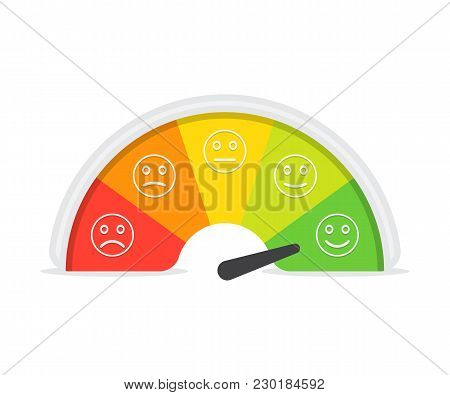 Customer Satisfaction Meter With Different Emotions. Vector Illustration. Scale Color With Arrow Fro