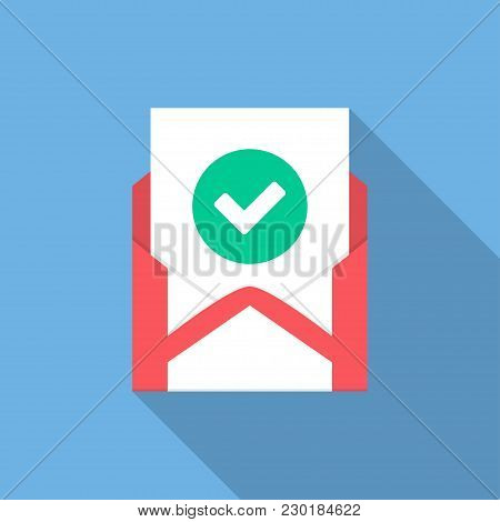 Envelope With Document And Round Green Check Mark Icon. Vector Illustration.