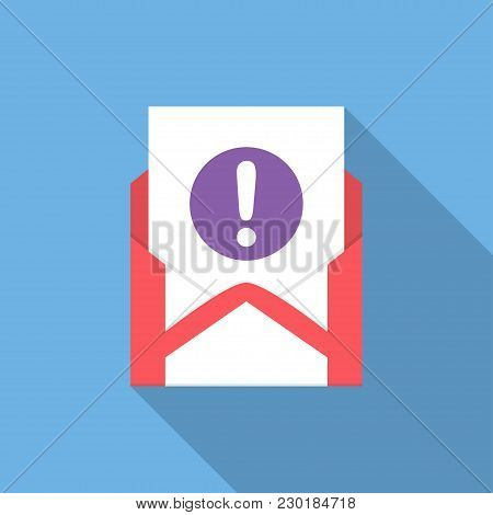 Envelope With Document And Round Purple Exclamation Point Icon. Vector Illusrtation.