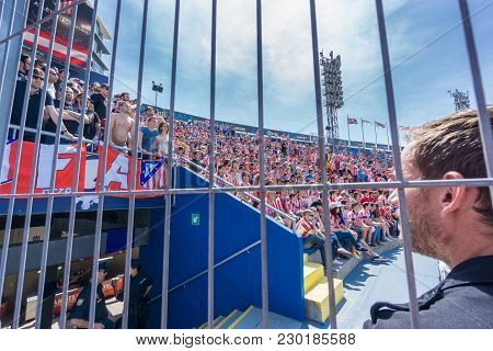 Valencia - May 10: Security Guard Watches Grilled Supporters On The Stands During The Spanish League