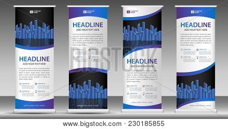 Blue Roll Up Banner Template, Stand Design, Pull Up, Display, Advertisement, Business Flyer, Poster,