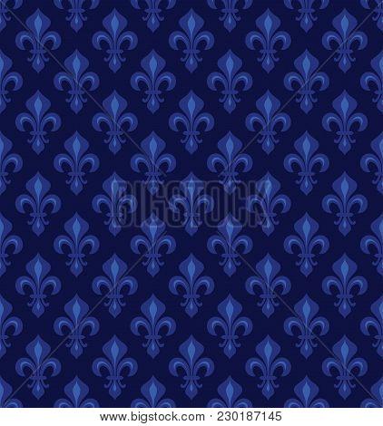Royal Heraldic Lilies (fleur-de-lis) -- Dark Night Violet Velvet, Seamless Pattern, Wallpaper Backgr